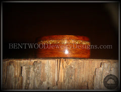 Bentwood Ring - Rosewood (Light) Wooden Ring with German Copper and Gold Glass Inlay - Bentwood Jewelry Designs - Custom Handcrafted Bentwood Wood Rings