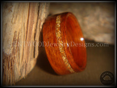 Bentwood Rings - Rosewood Wooden Ring with German Copper and Gold Glass Inlay - Bentwood Jewelry Designs - Custom Handcrafted Bentwood Wood Rings  - 1