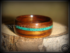 Bentwood Rings - Rosewood Wood Ring with Offset Malachite Inlay - Bentwood Jewelry Designs - Custom Handcrafted Bentwood Wood Rings  - 3