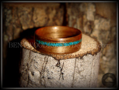 Bentwood Ring - American Walnut Wood Ring and Offset Chrysocolla Stone Inlay - Bentwood Jewelry Designs - Custom Handcrafted Bentwood Wood Rings  - 3
