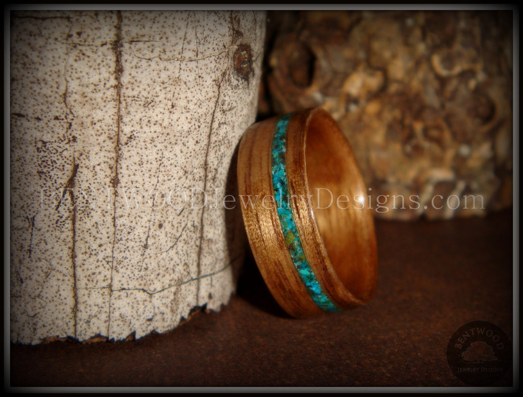 Bentwood Ring - American Walnut Wood Ring and Offset Chrysocolla Stone Inlay - Bentwood Jewelry Designs - Custom Handcrafted Bentwood Wood Rings  - 1