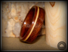 Bentwood Ring - S. American Rosewood with N. American Maple Inlay - Bentwood Jewelry Designs - Custom Handcrafted Bentwood Wood Rings