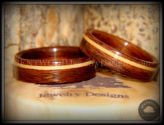Bentwood Rings Set - South American Rosewood with American Maple Inlay - Bentwood Jewelry Designs - Custom Handcrafted Bentwood Wood Rings