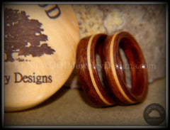 Bentwood Rings Set - South American Rosewood with American Maple Inlay handcrafted bentwood wooden rings wood wedding ring engagement