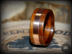 Bentwood Ring - Rosewood with Wide Copper Inlay - Bentwood Jewelry Designs - Custom Handcrafted Bentwood Wood Rings