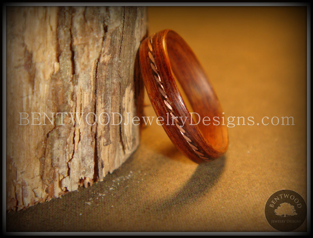 Bentwood Ring - Rosewood Ring with Twisted Copper Inlay - Bentwood Jewelry Designs - Custom Handcrafted Bentwood Wood Rings  - 1