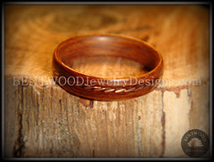 Bentwood Ring - Rosewood Ring with Twisted Copper Inlay - Bentwood Jewelry Designs - Custom Handcrafted Bentwood Wood Rings