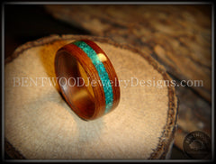 Bentwood Ring - Rosewood Ring with Malachite Inlay handcrafted bentwood wooden rings wood wedding ring engagement