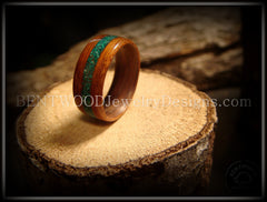 Bentwood Ring - Rosewood Ring with Malachite Inlay - Bentwood Jewelry Designs - Custom Handcrafted Bentwood Wood Rings  - 3