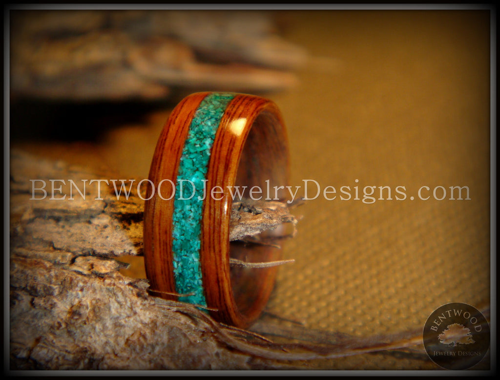 Bentwood Ring - Rosewood Ring with Malachite Inlay - Bentwood Jewelry Designs - Custom Handcrafted Bentwood Wood Rings  - 1