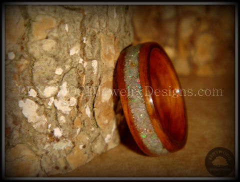 "Bentwood Ring - ""Prism"" Rosewood Wooden Ring with Ethiopian Welo Fire Opal Inlay"