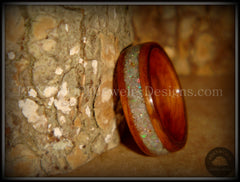 "Bentwood Ring - ""Prism"" Rosewood Wooden Ring with Ethiopian Welo Fire Opal Inlay handcrafted bentwood wooden rings wood wedding ring engagement"