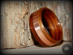 Bentwood Ring - Rosewood with Wide Copper Inlay - Bentwood Jewelry Designs - Custom Handcrafted Bentwood Wood Rings  - 1