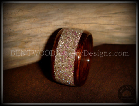 Bentwood Ring - Rosewood Wooden Ring with Silver & Lilac Glass Inlay