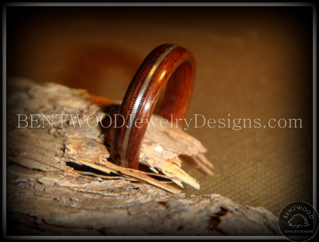 Bentwood Ring - Rosewood Ring Jewelry with Guitar String Inlay - Bentwood Jewelry Designs - Custom Handcrafted Bentwood Wood Rings