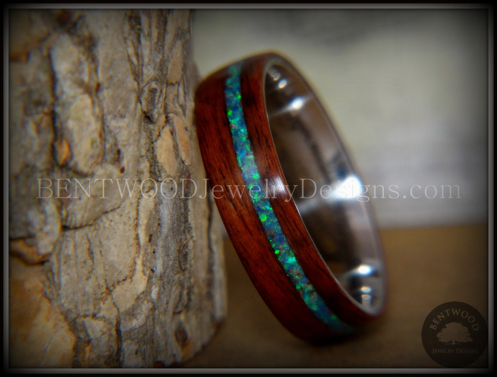 "Bentwood Ring - ""Peacock"" Rosewood Wood Ring with Opal Inlay on Surgical Grade Stainless Steel Comfort Fit Metal Core - Bentwood Jewelry Designs - Custom Handcrafted Bentwood Wood Rings  - 1"