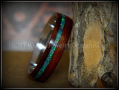 "Bentwood Ring - ""Peacock"" Rosewood Wood Ring with Opal Inlay on Surgical Grade Stainless Steel Comfort Fit Metal Core - Bentwood Jewelry Designs - Custom Handcrafted Bentwood Wood Rings  - 2"