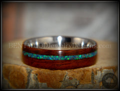 "Bentwood Ring - ""Peacock"" Rosewood Wood Ring with Opal Inlay on Surgical Grade Stainless Steel Comfort Fit Metal Core - Bentwood Jewelry Designs - Custom Handcrafted Bentwood Wood Rings  - 3"