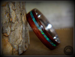 "Bentwood Ring - ""Peacock"" Rosewood Wood Ring with Opal Inlay on Surgical Grade Stainless Steel Comfort Fit Metal Core - Bentwood Jewelry Designs - Custom Handcrafted Bentwood Wood Rings  - 5"