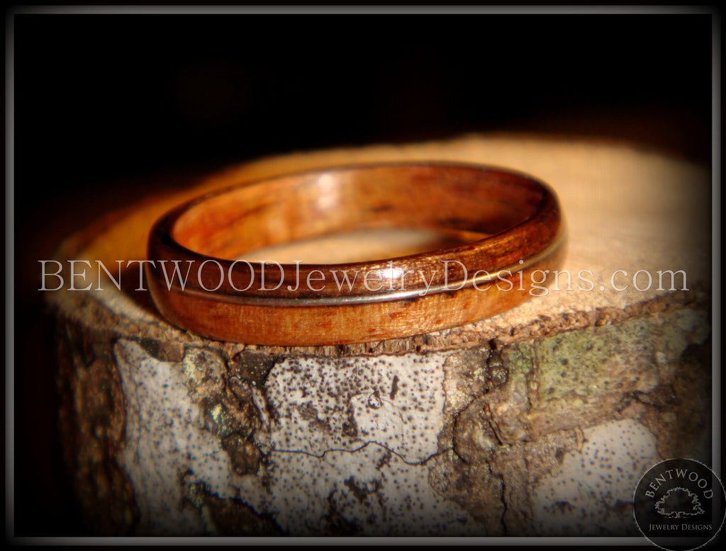 Bentwood Ring - Santos Rosewood Wood Ring with Silver Wire Inlay ...