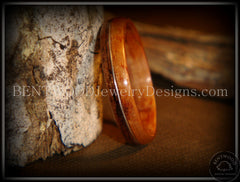 Bentwood Rings - Santos Rosewood Wood Ring with Silver Wire Inlay - Bentwood Jewelry Designs - Custom Handcrafted Bentwood Wood Rings  - 1