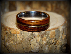 "Bentwood Ring - ""Acoustic"" Rosewood Wood Ring Bronze Acoustic Guitar String Inlay on Surgical Grade Stainless Steel Comfort Fit Metal Core - Bentwood Jewelry Designs - Custom Handcrafted Bentwood Wood Rings"
