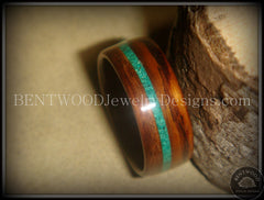 Bentwood Rings - Rosewood Wood Ring with Offset Malachite Inlay - Bentwood Jewelry Designs - Custom Handcrafted Bentwood Wood Rings  - 4