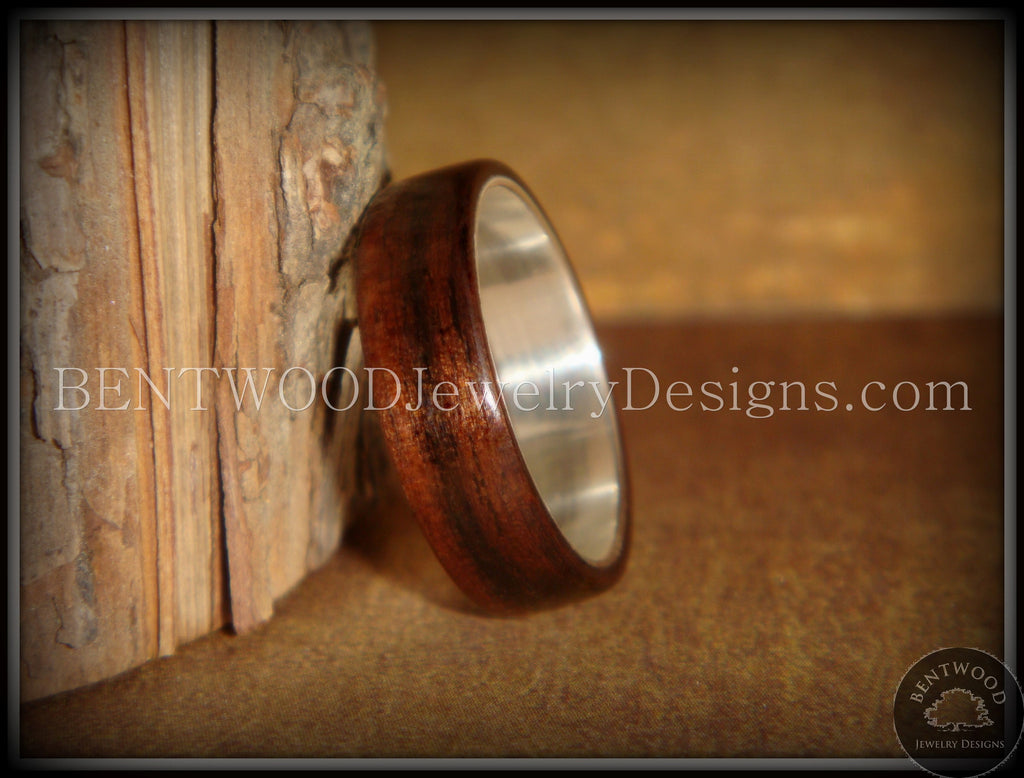 Bentwood Ring - Macassar Ebony Wood Ring with Wide Fine Silver Core - Bentwood Jewelry Designs - Custom Handcrafted Bentwood Wood Rings  - 1