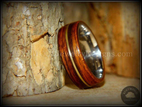 "Tazzy Bentwood Ring - ""Breakdown"" Rosewood Wood Ring Bronze Guitar String Inlay on Surgical Grade Stainless Steel Comfort Fit Metal Core"