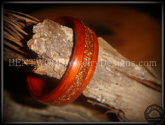 Bentwood Ring - African padauk wood ring with German copper and amber glass inlay - Bentwood Jewelry Designs - Custom Handcrafted Bentwood Wood Rings