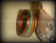 Bentwood Rings - Rosewood Wood Ring with Offset Malachite Inlay - Bentwood Jewelry Designs - Custom Handcrafted Bentwood Wood Rings  - 2