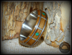 "Bentwood Ring - ""Nature Tracks"" Bog Oak on Titanium with Guitar String Inlays, Antler Frets and Malachite Dot Inlays handcrafted bentwood wooden rings wood wedding ring engagement"