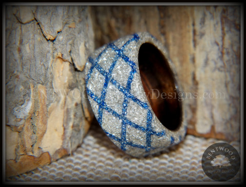 "Bentwood Ring - ""The Blue Diamond Waffle Wedge"" Ebony Wood German Silver and Blue Glass Inlay"