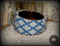 "Bentwood Ring - ""The Blue Diamond Waffle Wedge"" Ebony Wood German Silver and Blue Glass Inlay handcrafted bentwood wooden rings wood wedding ring engagement"