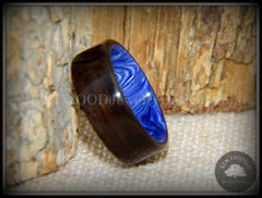 "Bentwood Ring - ""Ultramarine"" Macassar Ebony on Juma Gemstone Marbled Core handcrafted bentwood wooden rings wood wedding ring engagement"