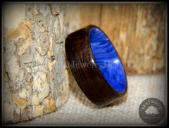 "Bentwood Ring - ""Ultramarine"" Macassar Ebony on Juma Gemstone Marbled Core"