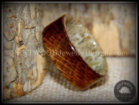 "Bentwood Ring - ""The Whiskey Hunter"" Jack Daniel's Whiskey Oak Barrel on Deer Antler"