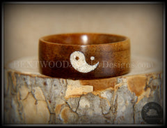 "Bentwood Ring - ""Yin Yang"" Hawaiian Koa Wood Ring with Yin-Yang Symbol Beach Sand Inlay handcrafted bentwood wooden rings wood wedding ring engagement"