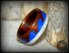 "Bentwood Ring -  ""Beach Waves"" Koa, Blue Lapis & Beach Sand handcrafted bentwood wooden rings wood wedding ring engagement"