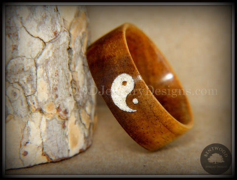 "Bentwood Ring - ""Yin Yang"" Hawaiian Koa Wood Ring with Yin-Yang Symbol Beach Sand Inlay"