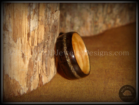 Bentwood Ring - Macassar Ebony Olive Wood Liner and Offset Canadian Beach Sand Inlay