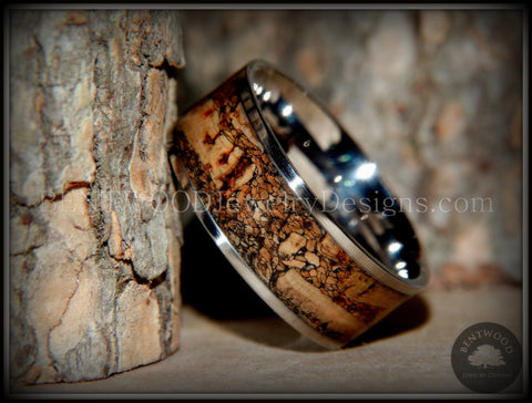 "Bentwood Ring - ""Figured Brown"" Rare Mediterranean Oak Burl Wood Ring with Surgical Grade Stainless Steel Comfort Fit Metal Core"