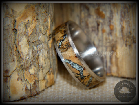 "Bentwood Ring - ""Figured Brown Sleeping Beauty"" Rare Mediterranean Oak Burl Wood Ring on Surgical Grade Stainless Steel Comfort Fit Core"