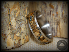 "Bentwood Ring - ""Figured Brown Sleeping Beauty"" Rare Mediterranean Oak Burl Wood Ring on Surgical Grade Stainless Steel Comfort Fit Core handcrafted bentwood wooden rings wood wedding ring engagement"