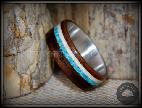 "Bentwood Rings Set - ""Paired Single"" Rosewood Wood Ring with Sleeping Beauty Turquoise and Beach Sand Inlay"