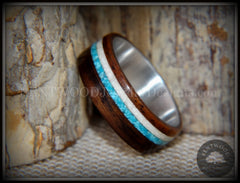 "Bentwood Rings Set - ""Paired Single"" Rosewood Wood Ring with Sleeping Beauty Turquoise and Beach Sand Inlay handcrafted bentwood wooden rings wood wedding ring engagement"
