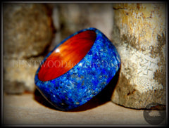 Bentwood Ring - Rosewood Wooden Ring with Blue Lapis Inlay - Bentwood Jewelry Designs - Custom Handcrafted Bentwood Wood Rings