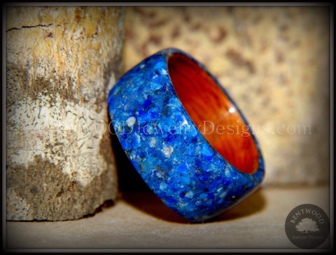 Bentwood Ring - Rosewood Wooden Ring with Blue Lapis Inlay