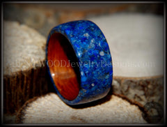 Bentwood Ring - Rosewood Wooden Ring with Blue Lapis Inlay handcrafted bentwood wooden rings wood wedding ring engagement