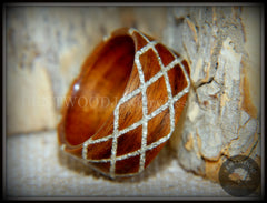 "Bentwood Ring -  ""Diamond Waffle"" Santos rosewood German silver glass inlay handcrafted bentwood wooden rings wood wedding ring engagement"